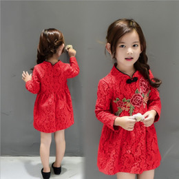 Wholesale Cute Baby Girl Chinese - Chinese Style Girl Dress New Year Baby Girls Clothes Cute Red Embroidery Dress Kids Floral Princess Dress Children Clothing Top Quality