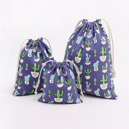 Wholesale Cheap Cotton Gift Bags - Cactus Pattern Jewelry Sack Bags Easter Fashion Drawstring Cotton Bag Good Quality Gift Pouches Cheap Wholesale