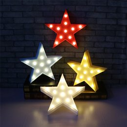 Wholesale battery signs - Star Design LED Night Light Decor Lamps Battery Operation LED Light Marquee Sign Cartoon Kids Room Ornament