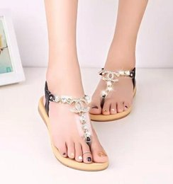 Wholesale Low Heels Wedding Shoes - New Fashion women's sandals female channel rhinestone comfortable flats flip gladiator sandals woman party wedding shoe