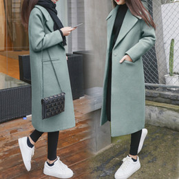 Wholesale Coat Wool Female - 2017 New Women coat fashion Autumn winter X-Long wool blends female coats long sleeve women Spring tops solid Thick Loose overcoats