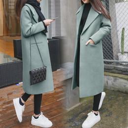 Wholesale Long Woolen Coats - 2017 New Women coat fashion Autumn winter X-Long wool blends female coats long sleeve women Spring tops solid Thick Loose overcoats