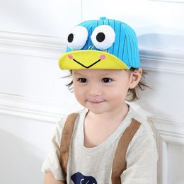 Wholesale Newborn Baby Frog Caps - 2017 Children Hat Spring New Big Eyes Frog Embroidery Tongue Cap Baby Baby Hat Newborn Photography Props