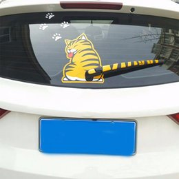 Wholesale Outside Window - Wholesale- 2017 Funny Creative Cartoon Cat Decoration Moving Tail Stickers Auto Vehicle Window Wiper Decals Car Outside Styling Decoration