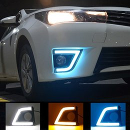 Wholesale Fog Lamp For Toyota Corolla - High Power Led Super Bright Daytime Running Light For Toyota Corolla 2014 2015 With Amber Turn Signal Fog Lamp Hole DRL