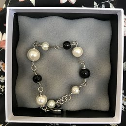 Wholesale Best Stamping - Fashion brand pearl bracelets for women CC with stamp fashion symbol Luxury pearl bracelet with gift box best gift