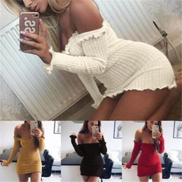 Wholesale Yellow Short Tight Dresses - Fashion Autumn Dress Sexy Women Ladies Off Shoulder Short Mini Jumper Dress Casual Party Fit Bodycon Dresses For Womens Tight Bandage dress