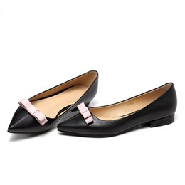 Wholesale Sweet Black Dress Women - Pointed Toe Flats Women Shallow Mouth Bowtie Ladies Shoes Black Genuine Leather 2017 New All Match Sweet Wholesale Retail Shoes Woman