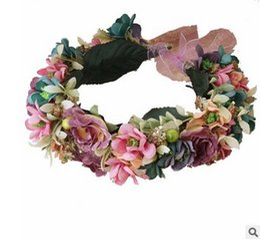 Wholesale Hairs Accesories - Bride wreath bohemia style garden wedding flowers wreath headband children studio photography garlands kids beach hair accesories T0478