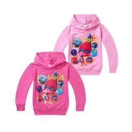 Wholesale Cute Tops For Winter - cute causal kids coat sweatshirt lovely cartoon trolls hoodie cotton tops for 4-10yrs children boys girls cute outerwear clothes
