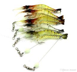 camarones luminosos suaves señuelos Rebajas Night Luminous Soft Shrimp Bait 3D Bass Bait Equipo de pesca leurre peche gusano Sepia Pulpo Señuelos cebo biónico Soft Squid Jigs