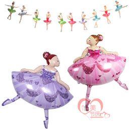 Wholesale Dancing Ballerina - 110cm Ballet Dancing Girl Foil Balloons aluminum ballerina Balloon Wedding Decoration Birthday Party Decorations Kids Baby Girl wholesale