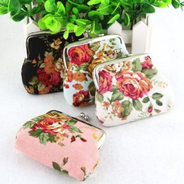 Wholesale national fabrics - 50pcs Fashion Hot Vintage rose flower coin purse canvas key holder wallet hasp small coin change gifts bag clutch xmas present handbag
