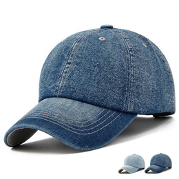 Wholesale Wholesale Denim Hats - Unisex Denim Baseball Cap Blank Washed Low Profile Jean Hat Casquette Adjustable Snapback Hats Caps For Men And Women