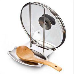 Panelas de organizador on-line-Acessórios de cozinha de aço inoxidável panela tampa da prateleira organizador da cozinha tampa da panela tampa da cremalheira suporte esponja colher titular rack de prato
