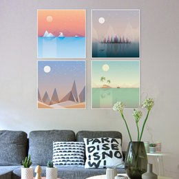 Wholesale Sun Painting Modern Art - Modern Abstract Summer Natural Landscape Mountain Sun Moon Canvas A4 Art Print Poster Wall Picture Home Decor Painting No Frame