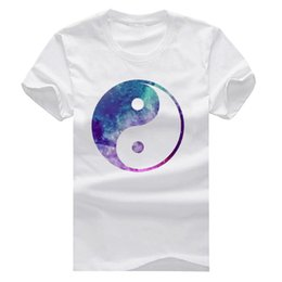 Wholesale Mens Galaxy T Shirt - Ying Yang Galaxy New Fashion Man T-Shirt Cotton O Neck Mens Short Sleeve Mens tshirt Male Tops Tees Wholesale