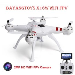 Wholesale Rc Brushless Motors - BAYANGTOYS X16W RC Drone Dron WiFi FPV 2.0MP CAM 2.4G 4CH 6 Axis Gyro Flying Helicopter Altitude Hold Brushless Motor Quadcopter Drones RC+B