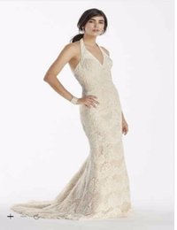 Wholesale Scallop Neck - Custom Made 2016 New Free Shipping Scallop Beaded Lace Halter V-Neck Trumpet Wedding Dress Style SWG691 Wedding Dresses