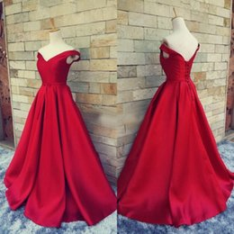Wholesale Yellow Corset Dress Sale - Hot Sale 2017 Red Off The Shoulder Satin Corset Prom Dresses Long Cheap Ruched Formal Dress Evening Wear Real Custom Made EN40611
