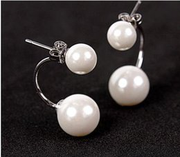 Wholesale 925 Earrings Price - Earring Fashion jewellery Real 925 Sterling Silver Double wear Pearls Cute Stud for girls' wholesale price free shipping
