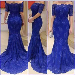 Wholesale Short White Mother Bride Dress - 2017 Royal Blue Lace Evening Dresses Gowns Off The Shoulder Mermaid Beauty Neck Elegant Fashion Mother Of The Bride Dress