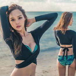 Wholesale Swimwear Three - Women Sexy Long Sleeve Bikini Sets Surf Sport Split Three Pieces Swimwear For Women Free Shipping