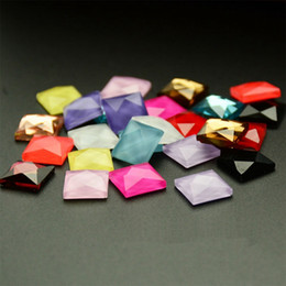 Wholesale Easter Cabochons - 12mm Cute Square Flatback Gems Candy Color Glue On Flatback Decoden Kawaii Cabochons For Bing Diy 100pcs set