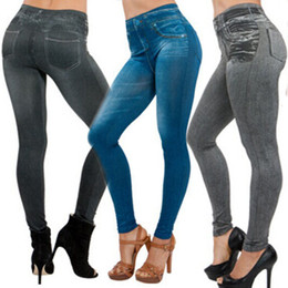 Wholesale Wholesale Jean Leggings - Wholesale- Jeggings Stretchy Slim Leggings NEW Sexy Women Lady Jean Color Skinny Fashion Skinny Leggings Pants