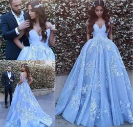 Wholesale Peplum Mermaid Dress For Prom - 2017 New Sky Blue Arabic Dubai prom Dresses 2017 Special Occasion Dress Ball Gown Off-Shoulder Lace Appliques Long Dresses for Party