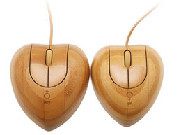 Wholesale Heart Shaped Usbs - Handmade Lovers Heart Shape Bamboo Mouse Set Wooden USB Optical Mice wood Twins heart bamboo Wired mouse Creative gifts for Computer Laptops