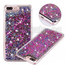 Wholesale 3d Bling Cell Phone Cases - For iphone 6 quicksand case bling diamond glitter 3D liquid phone cases hard PC cell phone case wholesales for iphone 7 7plus case freedhl