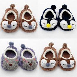 Wholesale Kids Slippers Wholesale - Wholesale- Spring Autumnn Toddler Kids Baby Anti-slip Socks Cartoon Newborn Slipper Shoes Boots 0-3 T New