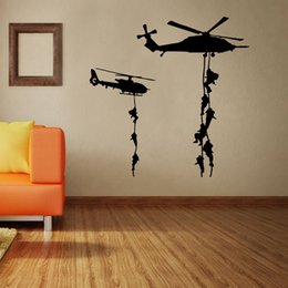 Wholesale Stickers For Room Decor - 57*57cm Home Decoration Art wallpaper Mural The Armed Helicopter Removable Wall Decor Sticker Living Room and Boy's Room