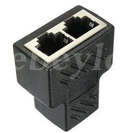 Wholesale Black Network Cable - High Qaulity Plastic Copper Core 1 To 2 LAN RJ45 Connector Network Cable Splitter Extender Plug Adapter Connector Black