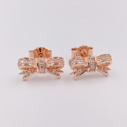 Wholesale rose chandeliers - Authentic 925 Sterling Silver Sparkling Bow Earrings Fits European Pandora Style Jewelry 280555CZ Rose Gold Plated Studs