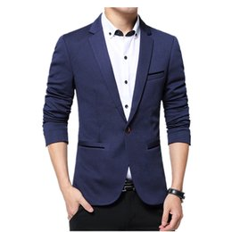 Wholesale Terno Plus Size Masculino - Wholesale- Blazer Men 2017 Autumn Winter Terno Blazer Masculino Slim Fit Fashion Cotton Blazer Jackets Coat Fashion Blazers Plus Size M-6XL
