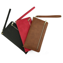 Wholesale Iphone Money Purse - Universal 6.4inch Handbag Wallet Zipper Leather For Iphone 7 Plus 5 SE 6S Galaxy S8 Plus S7 S6 Phone Money Pocket Bag Strap Lanyard Purse