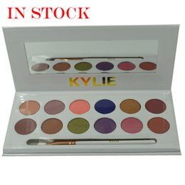 Wholesale Eyeshadow Palette Fashion Cosmetics - Fashion Kylie Jenner Makeup Kylie Cosmetics Royal Peach Eyeshadow Palette Kyshadow 12 Colors Eye Shadow Kit With Brush for Women
