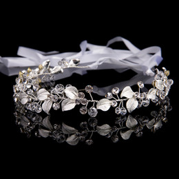 Wholesale Metal Headband Silver - New Fashion Metal Silver Bridal Hair Accessories Handmade Wedding Hair Jewelry Headband Tiara Women Headpiece Rhinestone Gifts Hairband