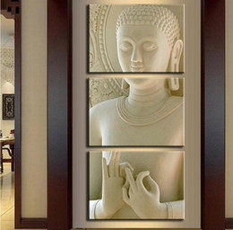Wholesale Buddha Art Painting - Modern Fashion Buddha Painting 3 Picture Home Decoration White Marble Buddha Statues Art Canvas Painting By Numbers Unframed