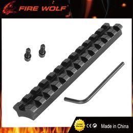 Base di supporto tessitore online-LUPO DI FUOCO 12 Fessure 124.5mm Viti Curve Rifle Scope Picatinny Fondo Rotondo 20mm Weaver Rail Mount Base Installare Scope Pistola