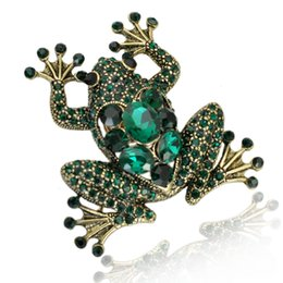 Wholesale Frog Plates - Wholesale- 2016 new design fashion european style gold plated frog brooch elegant crystal full rhinestone animal brooches for women