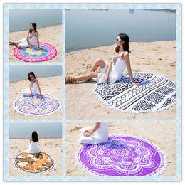 Wholesale Round Mattresses - High Quality Bohemian Round Beach Towel Mandala Towels Printed Tapestry Hippy Boho Tablecloth Serviette Covers Beaches Shawl Wrap Yoga Mat