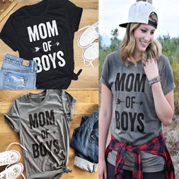 "Wholesale Female Cloths - Short Sleeve Women Tops ""mom of boys"" Letter Print Tee Female Casual tshirt O-neck cloth S-3XL"