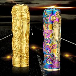 Wholesale Electronic Cigarette Dragon - Wholesale Windproof Arc Lighter USB Rechargeable Flameless Cigarette Lighter Engraved Lighter 3D Dragon and Phoenix (Colorful)