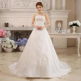 Wholesale Long Tailed Wedding Dress - 2017 New Summer Style Wedding Bride Long Tail Bra Straps Luxury Wedding Dress Vestidos De Casamento Bridal Dresses