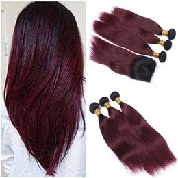 Wholesale Dark Wine Color Hair - Malaysian Burgundy Ombre Human Hair Weave with Lace Closure 4x4 Straight 1B 99J Dark Root Wine Red Ombre Lace Closure with 3Bundles