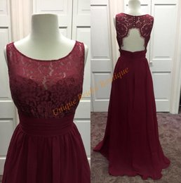 Wholesale Gray Color Photo - 2016 New Burgundy Bridesmaid Dresses Real Pictures Jewel Neck Chiffon and Lace Floor Length Guest Gowns with Backless and Sleeveless