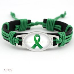 Wholesale Green Ribbon Awareness - (10 PCS lot) Awareness Butterfly Ribbon Adjustable Leather Wrap Green Bracelets for Men Women Jewelry Gifts